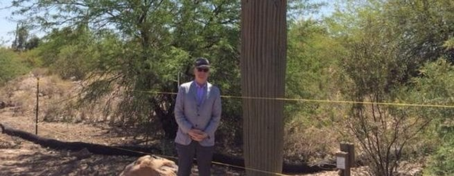 Steve Martin with a Fake Saguro Cactus