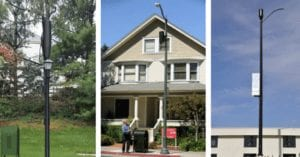 5G cell towers mounted on light polls in residential neighborhoods.