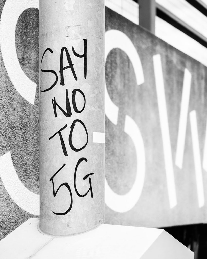 5G protest sign due to health concerns.